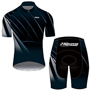 cheap Cycling Jerseys-21Grams Men's Short Sleeve Cycling Jersey with Shorts Nylon Polyester Black / Blue Stripes Gradient Bike Clothing Suit Breathable 3D Pad Quick Dry Ultraviolet Resistant Reflective Strips Sports Solid