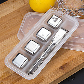 cheap novelty kitchen tools-4pcs Stainless Steel 304 Whisky Stones Ice Cubes Whiskey Cooler Rocks Stone Chilling for Wine Bar Tools
