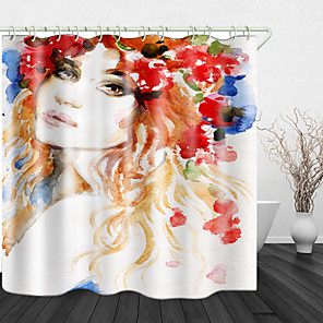 cheap Shower Curtains-Oil paint beauty Digital Print Waterproof Fabric Shower Curtain for Bathroom Home Decor Covered Bathtub Curtains Liner Includes with Hooks