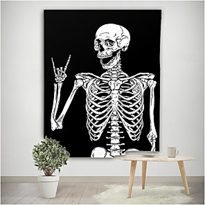 cheap Wall Tapestries-Home Living Tapestry Wall Hanging Tapestries Wall Blanket Wall Art Wall Decor Black and White Skull Tapestry Wall Decor