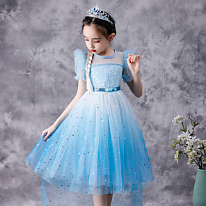 cheap Movie & TV Theme Costumes-Fairytale Frozen Dress Girls' Movie Cosplay Cosplay Princess Blue Dress Children's Day Polyester Cotton