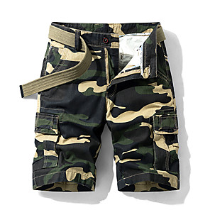 "cheap Hiking Trousers & Shorts-Men's Hiking Shorts Hiking Cargo Shorts Camo Summer Outdoor 10"" Breathable Quick Dry Sweat-wicking Multi-Pocket Cotton Shorts Bottoms Dark Grey Yellow Army Green Khaki Camping / Hiking Hunting Fishing"