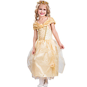 cheap Everyday Cosplay Anime Hoodies & T-Shirts-Princess Belle Flower Girl Dress Girls' Movie Cosplay A-Line Slip Golden Dress Carnival Children's Day Masquerade Polyester