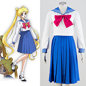 cheap Anime Costumes-Inspired by Sailor Moon Anime Cosplay Costumes Japanese Cosplay Suits Top Skirt Bow For Women's
