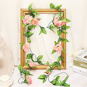 cheap Artificial Flowers & Vases-Artificial Fake Rose Silk Flower Green Leaf Vine Garland Ivy Vine Hanging Garland Home Wall Party Decor Wedding Garden Decoration Bouquet House Decor 240cm Light Pink