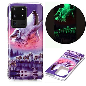 cheap Samsung Case-Case For Samsung Galaxy S20 S20 Plus S20 Ultra Glow in the Dark Pattern Back Cover Wolf TPU for Galaxy A21 A11 A01 A70E A51 A71