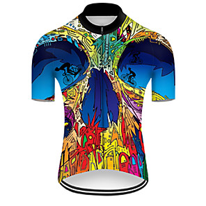 cheap Bike Covers-21Grams Men's Short Sleeve Cycling Jersey Nylon Polyester Blue+Yellow Patchwork Gradient Funny Bike Jersey Top Mountain Bike MTB Road Bike Cycling Breathable Quick Dry Ultraviolet Resistant Sports