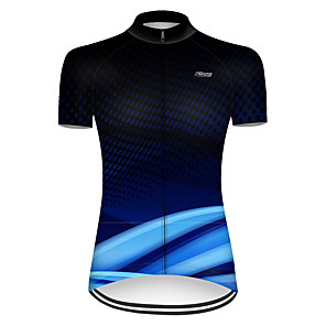 cheap Cycling Jerseys-21Grams Women's Short Sleeve Cycling Jersey Nylon Polyester Black / Blue 3D Stripes Gradient Bike Jersey Top Mountain Bike MTB Road Bike Cycling Breathable Quick Dry Ultraviolet Resistant Sports