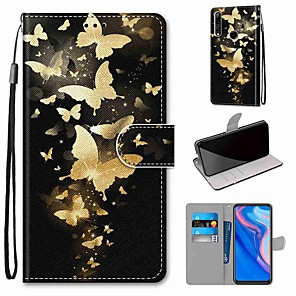 cheap Huawei Case-Case For Huawei P40 Huawei P40 Pro Huawei P40 lite E Wallet Card Holder with Stand Full Body Cases Golden Butterfly Group PU Leather TPU for Huawei Mate 30 Lite Honor 10 Lite Honor 9A
