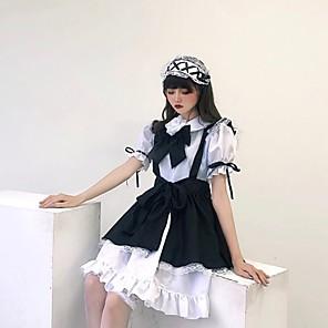 cheap Lolita Dresses-Princess Lolita Ōji Lolita (Boystyle) Maid Uniforms Cosplay Costume Maid Suits Costume Unisex Japanese Cosplay Costumes White Black & White Butterfly Sleeve Short Sleeve Knee Length / Dress / Apron
