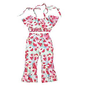 cheap Kids Collection Under $8.99-Baby Girls' Basic Fruit Short Sleeve Regular Clothing Set Blushing Pink