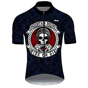 cheap Cycling Jerseys-21Grams Men's Short Sleeve Cycling Jersey Nylon Polyester Black / White Skull Funny Bike Jersey Top Mountain Bike MTB Road Bike Cycling Breathable Quick Dry Ultraviolet Resistant Sports Clothing