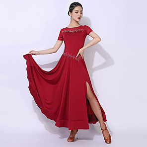 cheap Ballroom Dancewear-Ballroom Dance Dress Split Split Joint Crystals / Rhinestones Women's Performance Short Sleeve Elastane Polyester