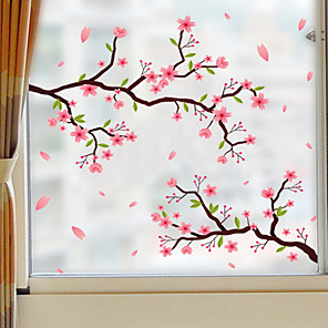 cheap Wall Stickers-Frosted Privacy Flowers Pattern Window Film Home Bedroom Bathroom Glass Window Film Stickers Self Adhesive Sticker 58 x 60CM