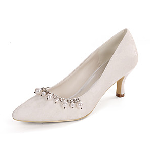 cheap Wedding Shoes-Women's Wedding Shoes Spring / Summer Kitten Heel Pointed Toe Classic Wedding Party & Evening Pearl / Sparkling Glitter Floral Lace White / Light Purple / Ivory