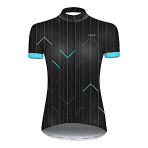 cheap Cycling Jerseys-21Grams Women's Short Sleeve Cycling Jersey Nylon Polyester Black / Blue Stripes Patchwork Bike Jersey Top Mountain Bike MTB Road Bike Cycling Breathable Quick Dry Ultraviolet Resistant Sports