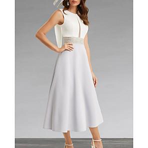 cheap Wedding Wraps-A-Line Mother of the Bride Dress Elegant Jewel Neck Tea Length Chiffon Sleeveless with Beading 2020