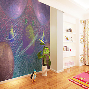 cheap Wallpaper-Custom Self Adhesive Mural Wallpaper Purple Background Planet Children Cartoon Style Suitable For Bedroom Children's Room School Party Home Decoration