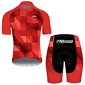 cheap Cycling Jersey & Shorts / Pants Sets-21Grams Men's Short Sleeve Cycling Jersey with Shorts Nylon Polyester Black / Red Plaid Checkered 3D Gradient Bike Clothing Suit Breathable 3D Pad Quick Dry Ultraviolet Resistant Reflective Strips