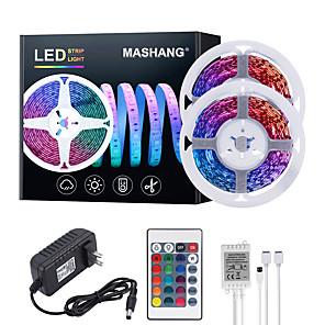 cheap LED Strip Lights-MASHANG 32.8ft 10M LED Strip Lights RGB Tiktok Lights 600LEDs Flexible Color Change SMD 2835 with 24 Keys IR Remote Controller and 100-240V Adapter for Home Bedroom Kitchen TV Back Lights DIY Deco