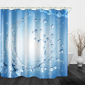cheap Shower Curtains-Water Drops Background Digital Print Waterproof Fabric Shower Curtain for Bathroom Home Decor Covered Bathtub Curtains Liner Includes with Hooks