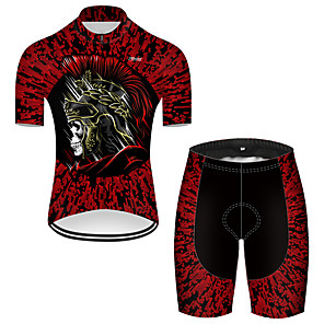 cheap Cycling Jerseys-21Grams Men's Short Sleeve Cycling Jersey with Shorts Nylon Polyester Black / Red 3D Novelty Skull Bike Clothing Suit Breathable 3D Pad Quick Dry Ultraviolet Resistant Reflective Strips Sports 3D
