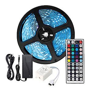 cheap Dog Clothes-ZDM 5M LED Strip Lights RGB Tiktok Lights Flexible 300 x 5050 10mm IR 44Key Remote Control Linkable Self-adhesive Color-Changing