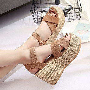 cheap Women's Sandals-Women's Sandals Summer Wedge Heel Open Toe Daily Suede Black / Yellow / Army Green