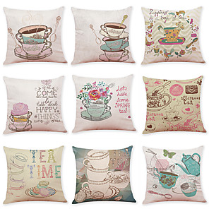 cheap Cushion Covers-9 pcs Linen Pillow Cover, Food Graphic Prints Casual Modern Square Traditional Classic