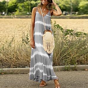 cheap Softshell, Fleece & Hiking Jackets-Women's A-Line Dress Maxi long Dress - Sleeveless Striped Summer V Neck Casual 2020 Blue Purple Blushing Pink Orange Green Gray S M L XL XXL XXXL XXXXL XXXXXL