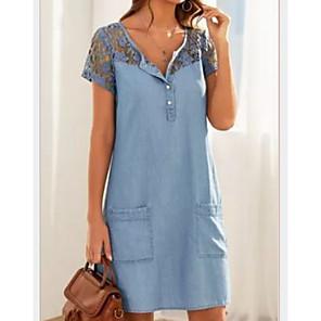 cheap Women's Sandals-Women's Denim Dress Short Mini Dress - Short Sleeve Lace Pocket Summer V Neck Casual 2020 Light Blue S M L XL XXL
