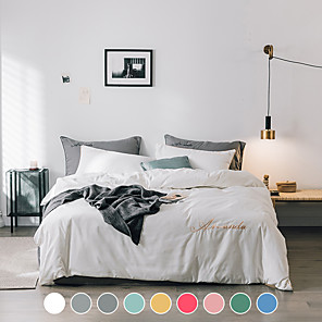 cheap Solid Duvet Covers-Washed cotton four-piece set Nordic style dormitory single double Nordic bed linen set solid color bedding