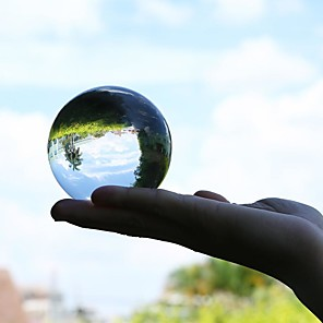 cheap Art Crafts-50mm Crystal Ball Quartz Glass Transparent Ball Spheres Glass Ball Photography Balls Crystal Craft Decor Feng Shui