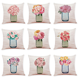 cheap Throw Pillow Covers-9 pcs Linen Pillow Cover, Art Deco Flower Casual Modern Square Traditional Classic