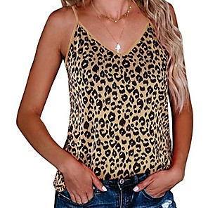 cheap Custom Tuxedo-Women's Tank Top Leopard V Neck Tops Basic Top Brown