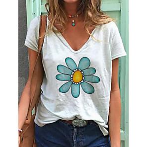 abordables Ceintures de Soirée-Tee-shirt Femme Quotidien Fleurie Imprimé Marguerite Manches Courtes Imprimé Col en V Hauts Ample Haut de base Coton Blanche