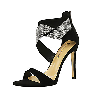 cheap Wedding Shoes-Women's Sandals Spring / Summer Stiletto Heel Open Toe Sexy Party & Evening Rhinestone Solid Colored Suede Black / Yellow / Red