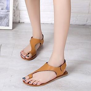 cheap LED Strip Lights-Women's Sandals Summer Flat Heel Open Toe Daily PU Dark Brown / Khaki / Bunion Sandals
