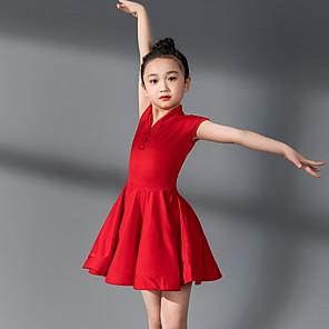cheap Latin Dancewear-Latin Dance Kids' Dancewear Dress Pleats Girls' Training Daily Wear Short Sleeve Polyester