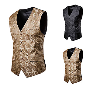 cheap Historical & Vintage Costumes-Plague Doctor Vintage Gothic Steampunk Masquerade Vest Waistcoat Men's Jacquard Costume Black / Camel Vintage Cosplay Event / Party Sleeveless
