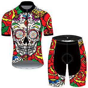 cheap Cycling Jerseys-21Grams Men's Short Sleeve Cycling Jersey with Shorts Nylon Polyester Black / Red Skull Floral Botanical Funny Bike Clothing Suit Breathable 3D Pad Quick Dry Ultraviolet Resistant Reflective Strips