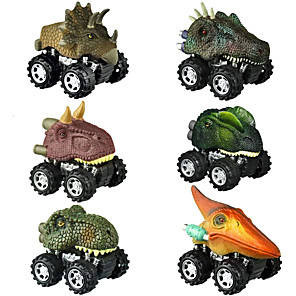 cheap Toy Cars-Vehicle Playset Pull Back Car / Inertia Car Jurassic Dinosaur Tyrannosaurus Tyrannosaurus Rex Cute Creative Cool PVC (Polyvinylchlorid) Plastic Mini Car Vehicles Toys for Party Favor or Kids Birthday