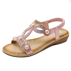 cheap Women's Sandals-Women's Sandals Summer Flat Heel Open Toe Daily PU Black / Pink / Gold