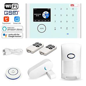abordables Systèmes d'Alarme Anti-intrusion-systèmes d'alarme à domicile cs118 / fumée&ampli; détecteurs de gaz / hôte d'alarme gsm + wifi ios / plateforme android gsm + wifi sms / téléphone / code d'apprentissage 433 hz pour parc / maison