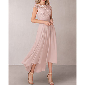 cheap Outdoor Speakers-A-Line Mother of the Bride Dress Elegant Jewel Neck Asymmetrical Chiffon Lace Short Sleeve with Pleats Appliques 2020