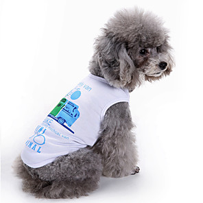 cheap Dog Clothes-Dog Shirt / T-Shirt Vest Geometic Casual / Daily Fashion Dog Clothes White Blue Costume Cotton XS S M L XL XXL