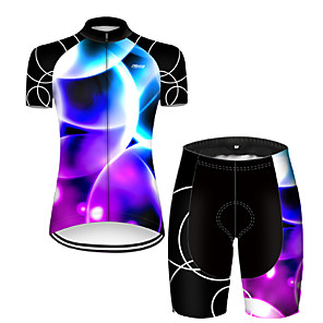 cheap Bike Covers-21Grams Women's Short Sleeve Cycling Jersey with Shorts Nylon Polyester Black / Blue 3D Gradient Bike Clothing Suit Breathable 3D Pad Quick Dry Ultraviolet Resistant Reflective Strips Sports 3D