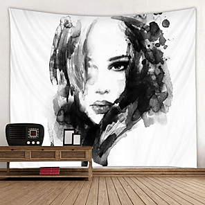 cheap Abstract Paintings-Black And White ink Painting Printed Tapestry Decor Wall Art Tablecloths Bedspread Picnic Blanket Beach Throw Tapestries Colorful Bedroom Hall Dorm Living Room Hanging