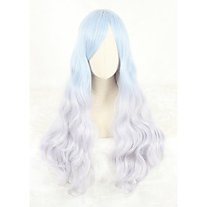 cheap Costume Wigs-Cosplay Wig Lolita Straight Cosplay Halloween With Bangs Wig Long Ombre Blue Synthetic Hair 31 inch Women's Anime Cosplay Color Gradient Ombre