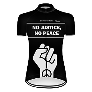 cheap Cycling Jerseys-21Grams Women's Short Sleeve Cycling Jersey Nylon Polyester Black Peace & Love Bike Jersey Top Mountain Bike MTB Road Bike Cycling Breathable Quick Dry Ultraviolet Resistant Sports Clothing Apparel
